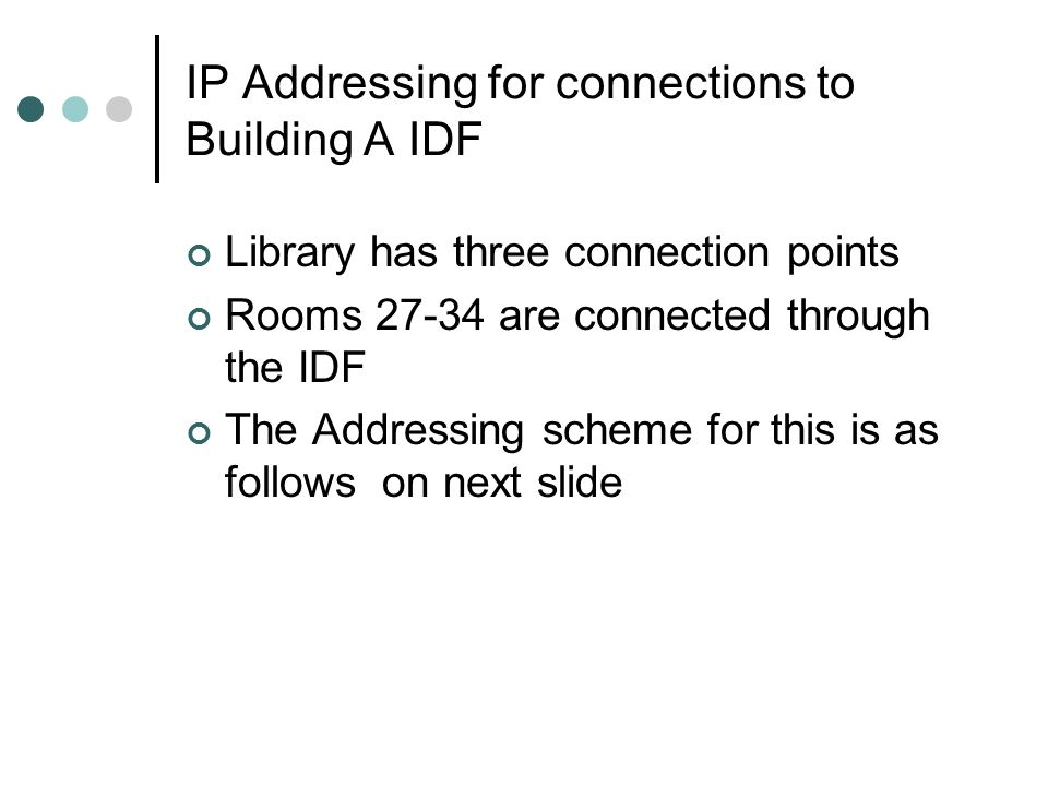 IP Addressing for connections to Building A IDF