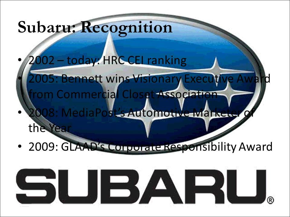 Subaru: Recognition 2002 – today: HRC CEI ranking