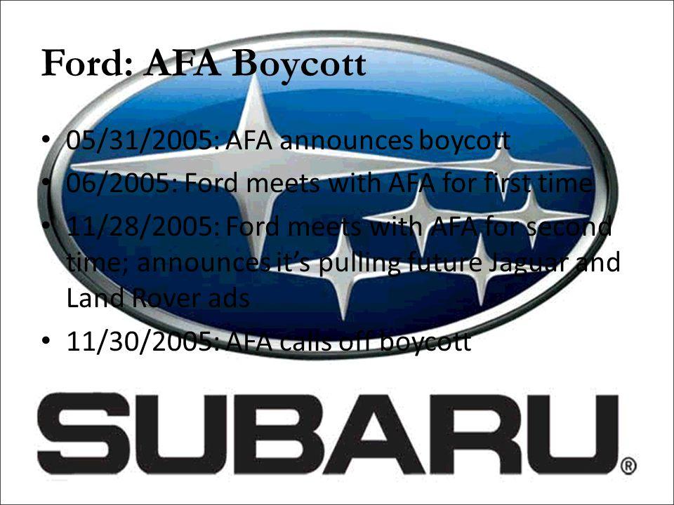 Ford: AFA Boycott 05/31/2005: AFA announces boycott