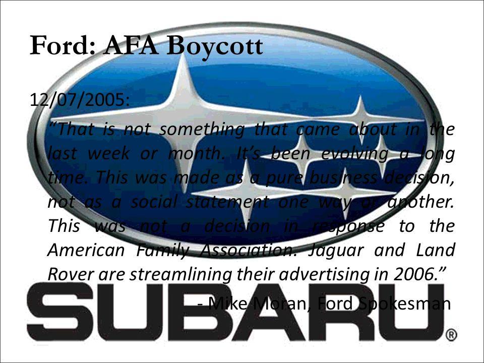Ford: AFA Boycott