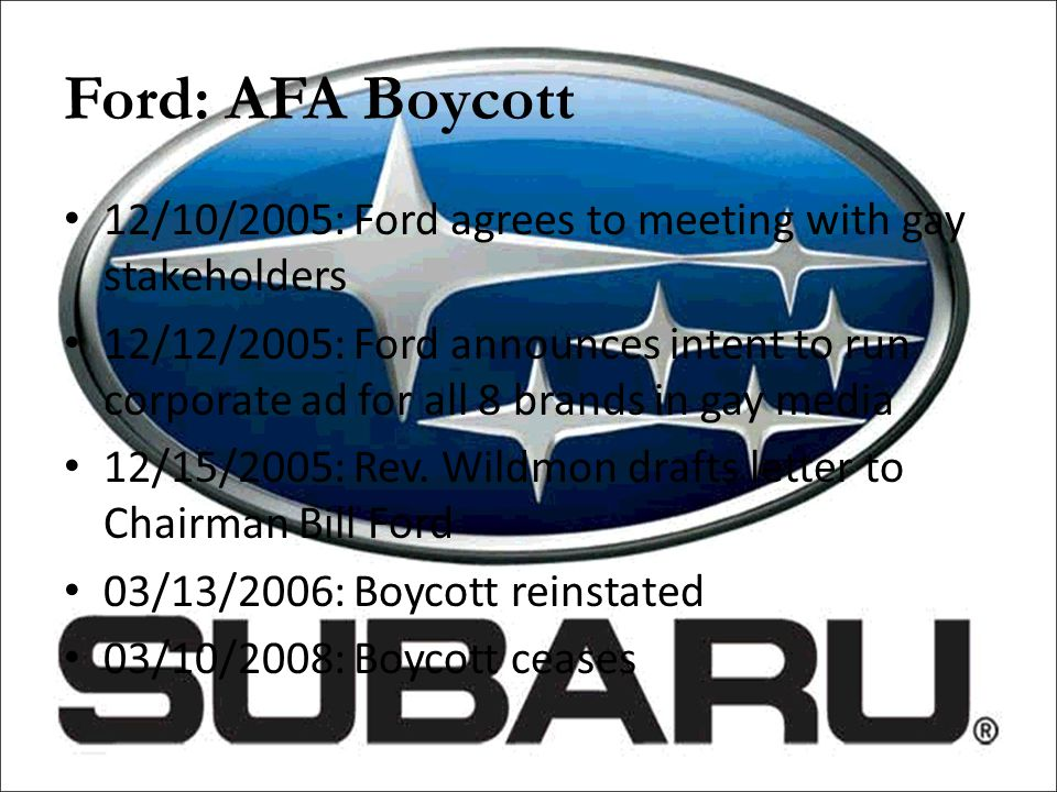 Ford: AFA Boycott 12/10/2005: Ford agrees to meeting with gay stakeholders.