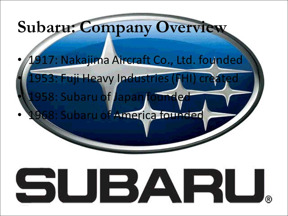 Subaru: Company Overview