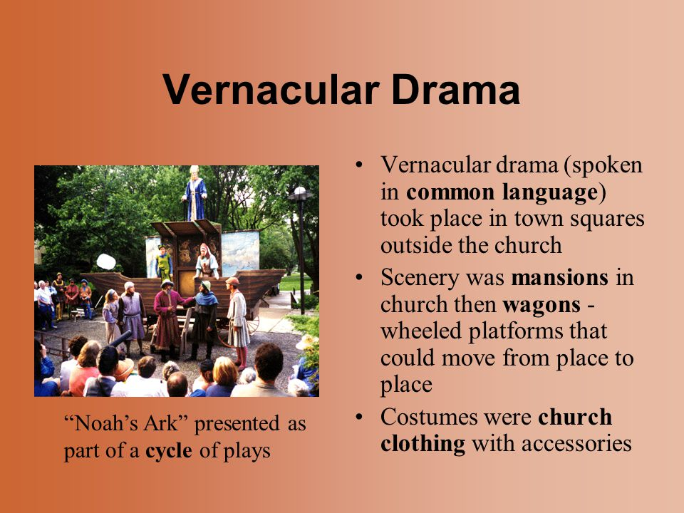 Vernacular Drama Vernacular drama (spoken in common language) took place in town squares outside the church.