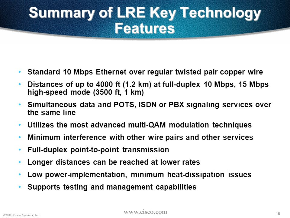 Summary of LRE Key Technology Features