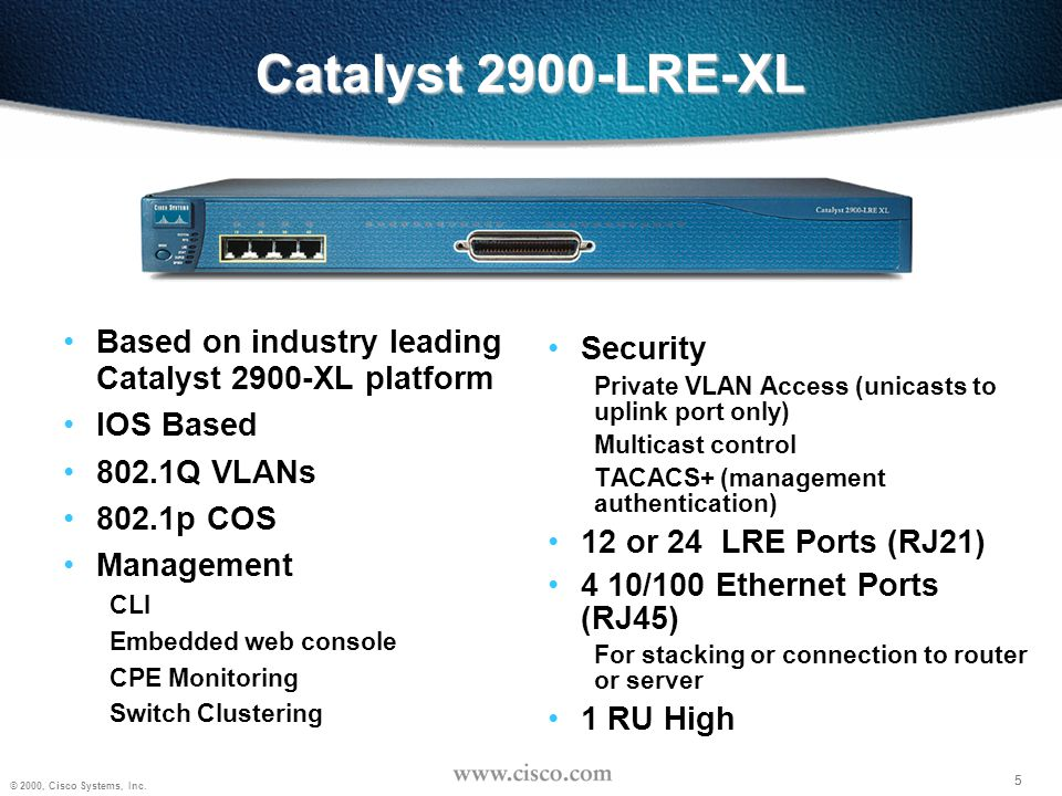 Catalyst 2900-LRE-XL Based on industry leading Catalyst 2900-XL platform. IOS Based. 802.1Q VLANs.