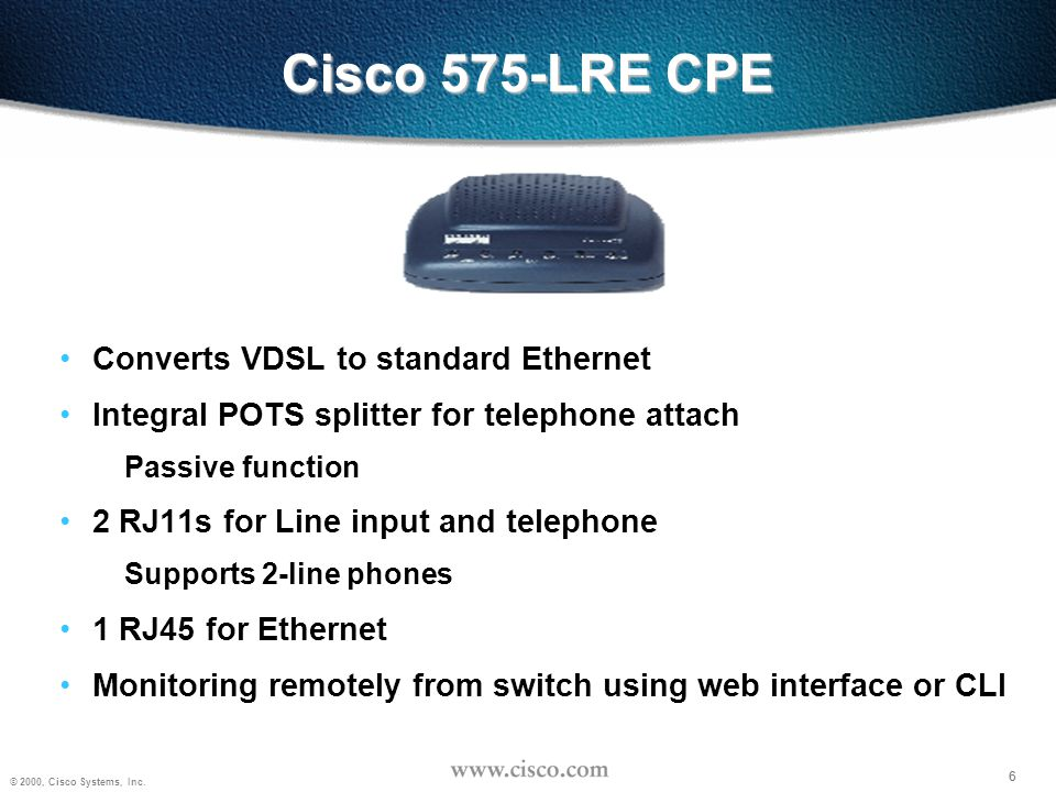 Cisco 575-LRE CPE Converts VDSL to standard Ethernet
