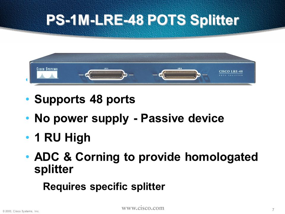 PS-1M-LRE-48 POTS Splitter