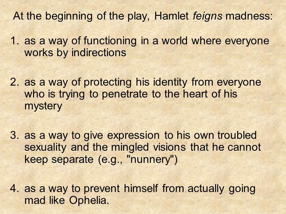 At the beginning of the play, Hamlet feigns madness: