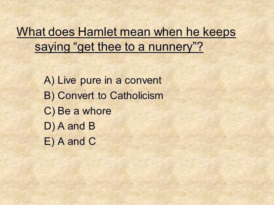 What does Hamlet mean when he keeps saying get thee to a nunnery