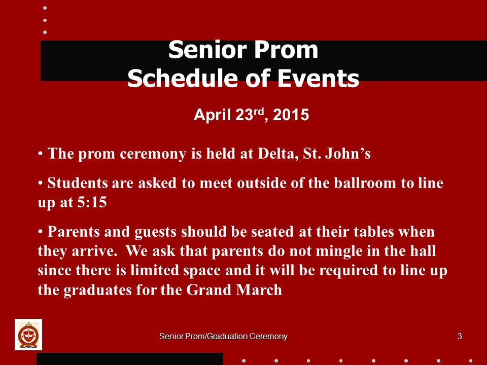 Senior Prom Schedule of Events
