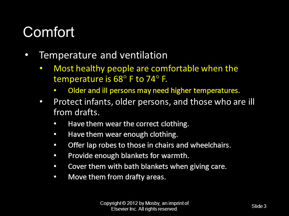 Comfort Temperature and ventilation