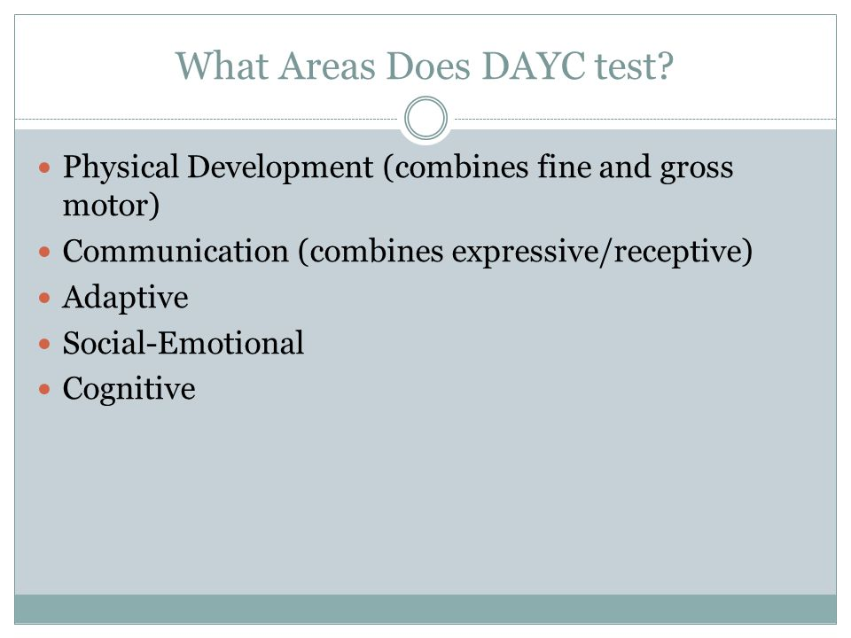 What Areas Does DAYC test