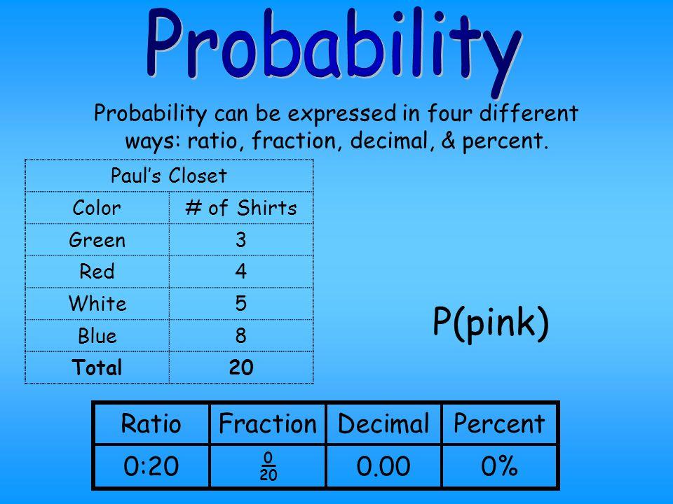 P(pink) Probability Ratio Fraction Decimal Percent 0:20 0.00 0%
