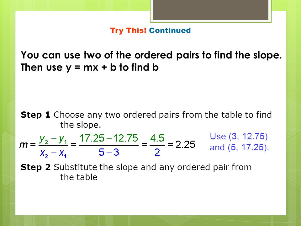 Try This! Continued You can use two of the ordered pairs to find the slope. Then use y = mx + b to find b.