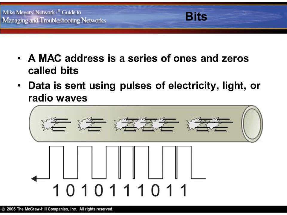 Bits A MAC address is a series of ones and zeros called bits