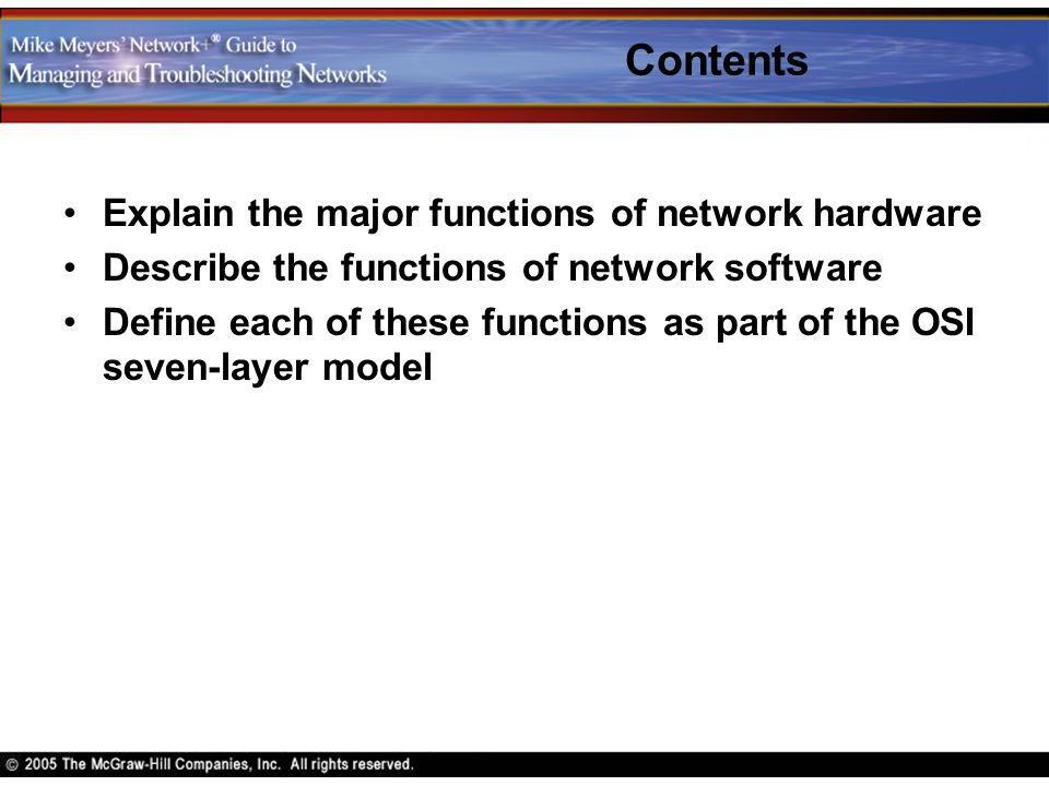 Contents Explain the major functions of network hardware
