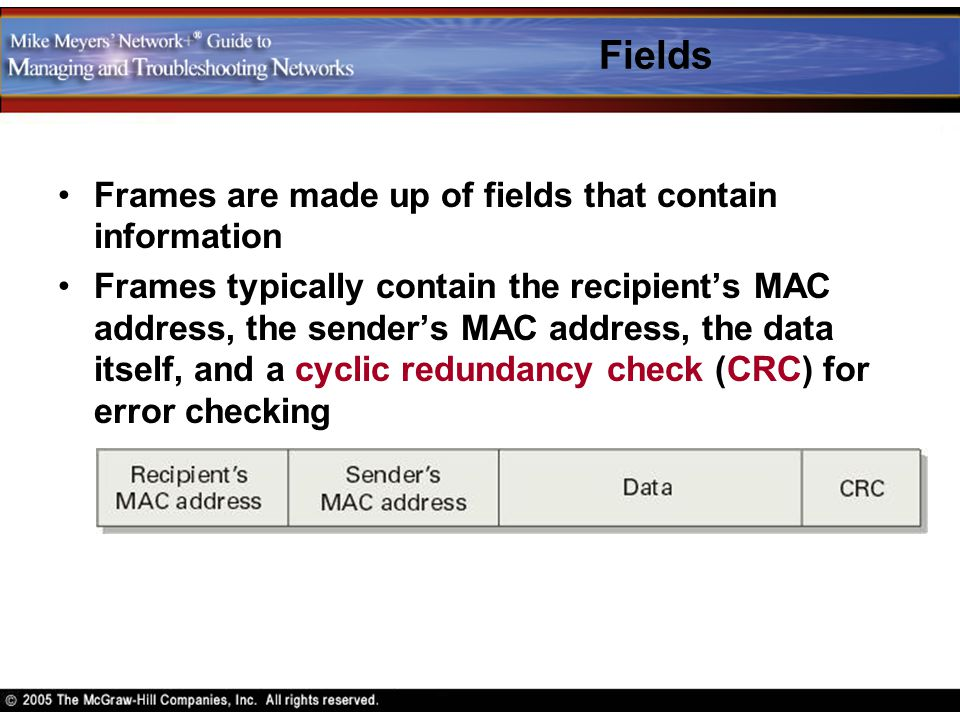 Fields Frames are made up of fields that contain information
