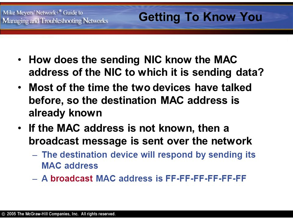 Getting To Know You How does the sending NIC know the MAC address of the NIC to which it is sending data
