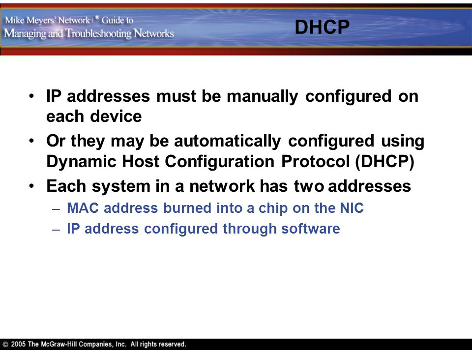 DHCP IP addresses must be manually configured on each device