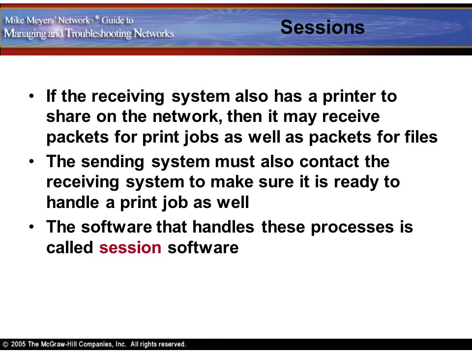 Sessions If the receiving system also has a printer to share on the network, then it may receive packets for print jobs as well as packets for files.