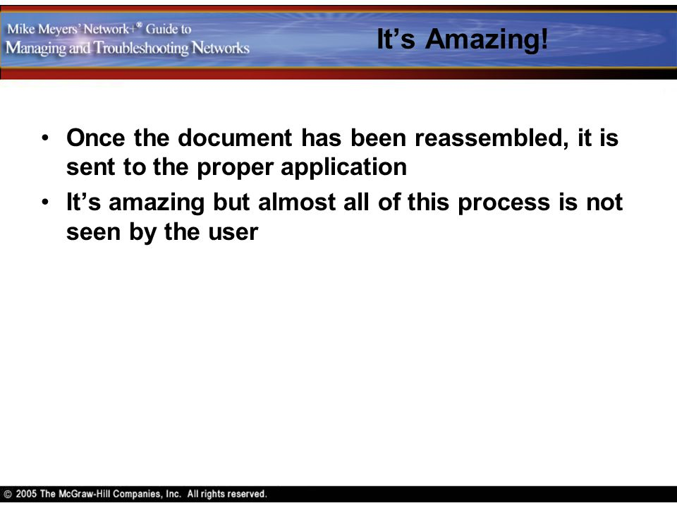 It's Amazing! Once the document has been reassembled, it is sent to the proper application.