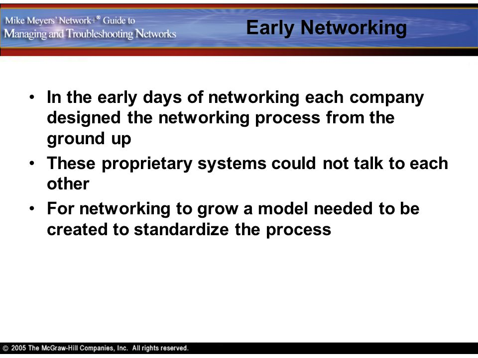 Early Networking In the early days of networking each company designed the networking process from the ground up.