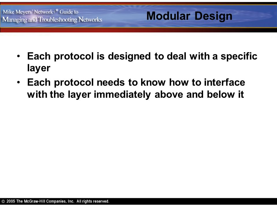 Modular Design Each protocol is designed to deal with a specific layer