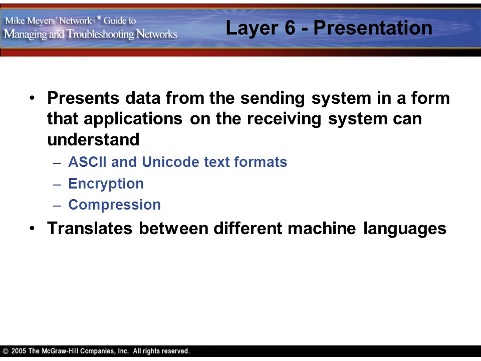 Layer 6 - Presentation Presents data from the sending system in a form that applications on the receiving system can understand.
