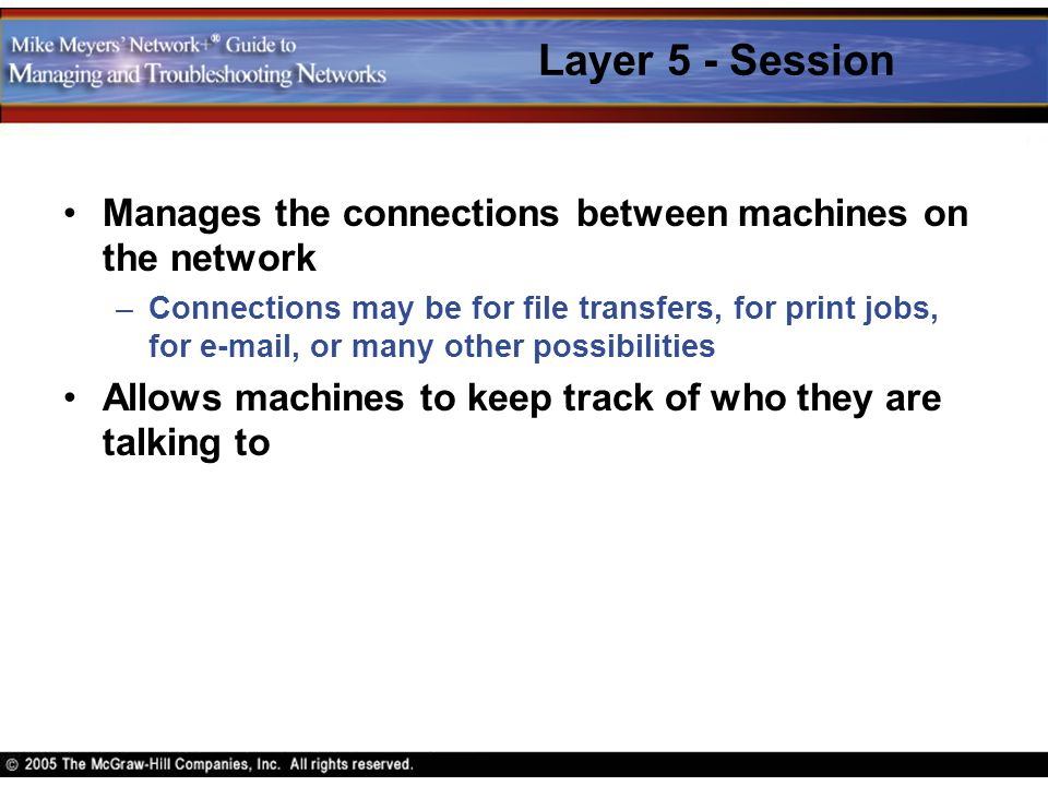 Layer 5 - Session Manages the connections between machines on the network.