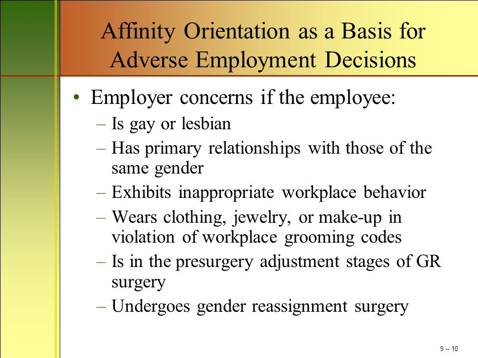 Affinity Orientation as a Basis for Adverse Employment Decisions