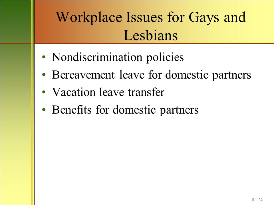 Workplace Issues for Gays and Lesbians