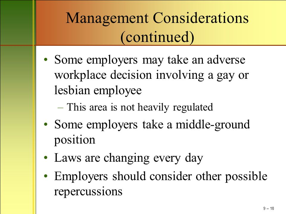 Management Considerations (continued)