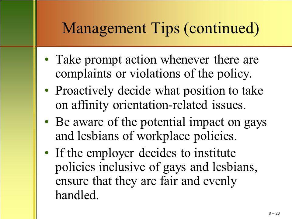 Management Tips (continued)