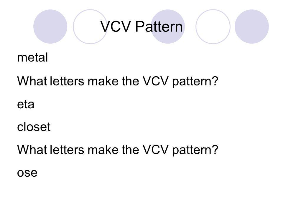 VCV Pattern metal What letters make the VCV pattern eta closet ose