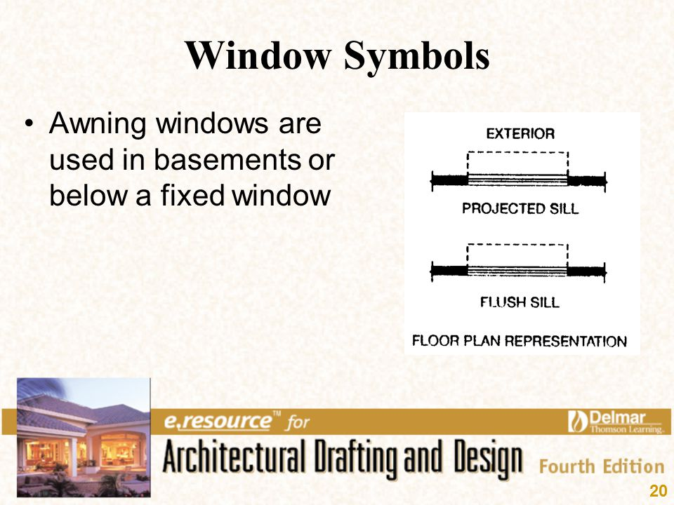 Window Symbols Awning windows are used in basements or below a fixed window