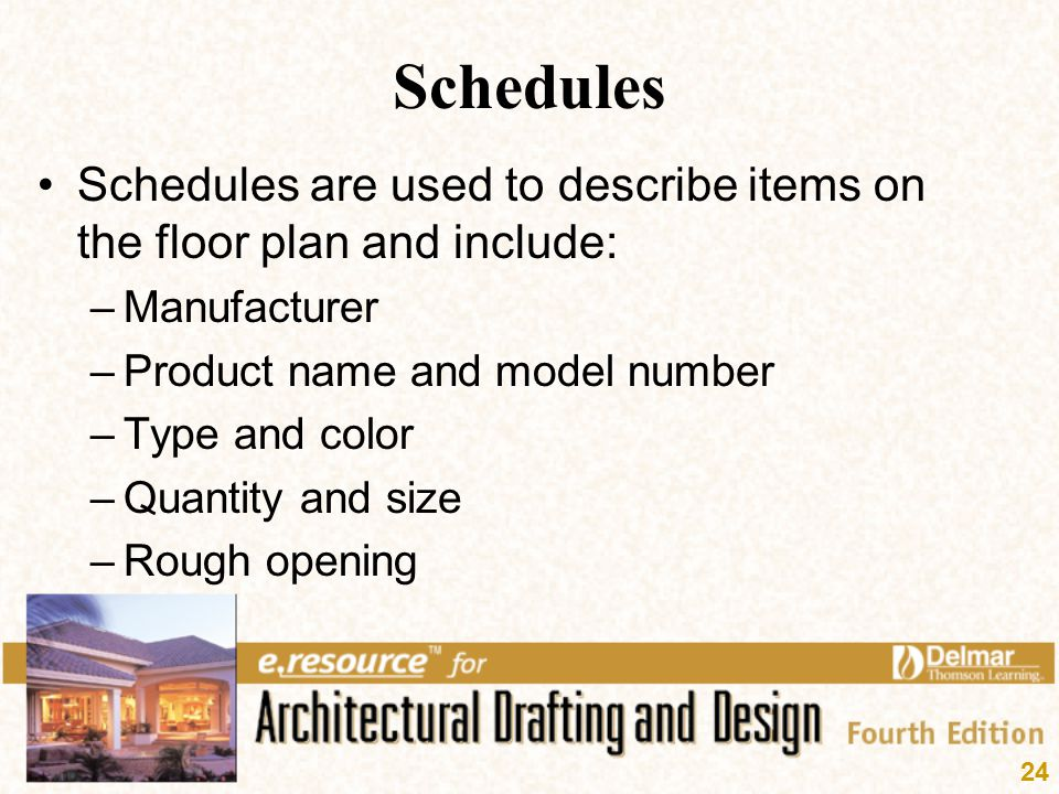 Schedules Schedules are used to describe items on the floor plan and include: Manufacturer. Product name and model number.