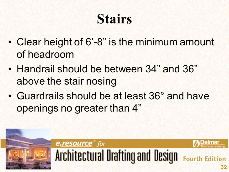 Stairs Clear height of 6'-8 is the minimum amount of headroom