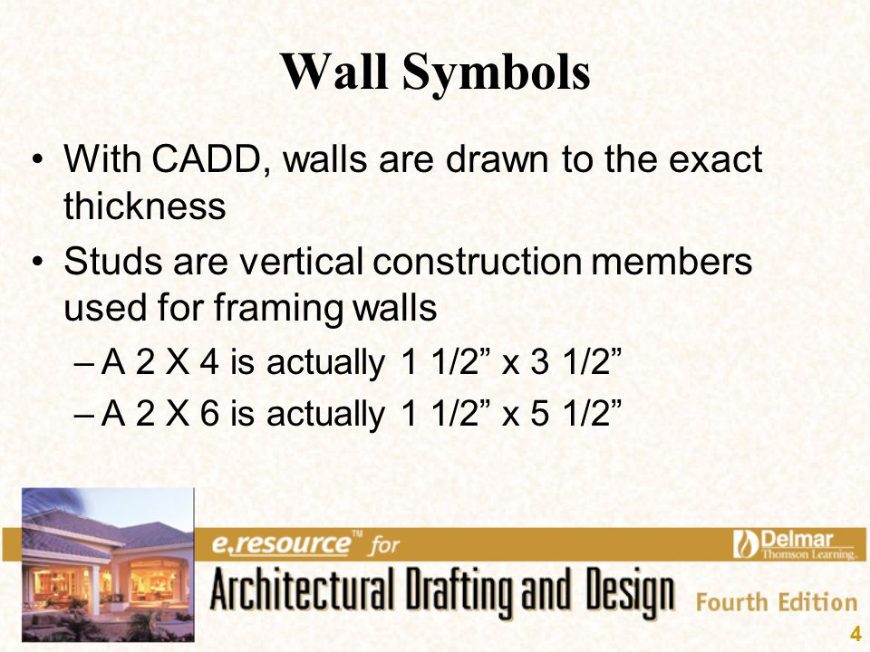 Wall Symbols With CADD, walls are drawn to the exact thickness