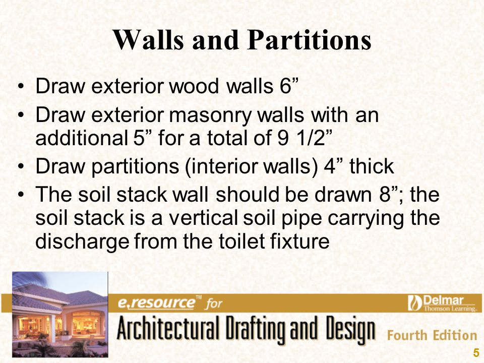 Walls and Partitions Draw exterior wood walls 6