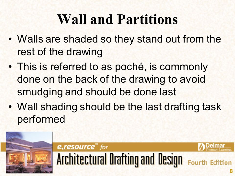 Wall and Partitions Walls are shaded so they stand out from the rest of the drawing.