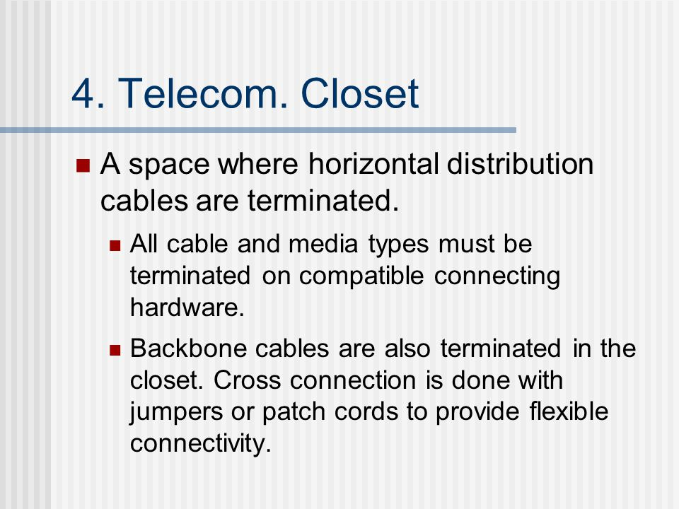 4. Telecom. Closet A space where horizontal distribution cables are terminated.