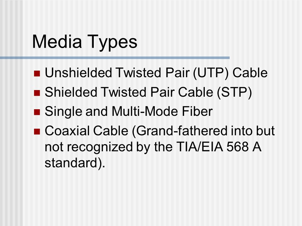 Media Types Unshielded Twisted Pair (UTP) Cable