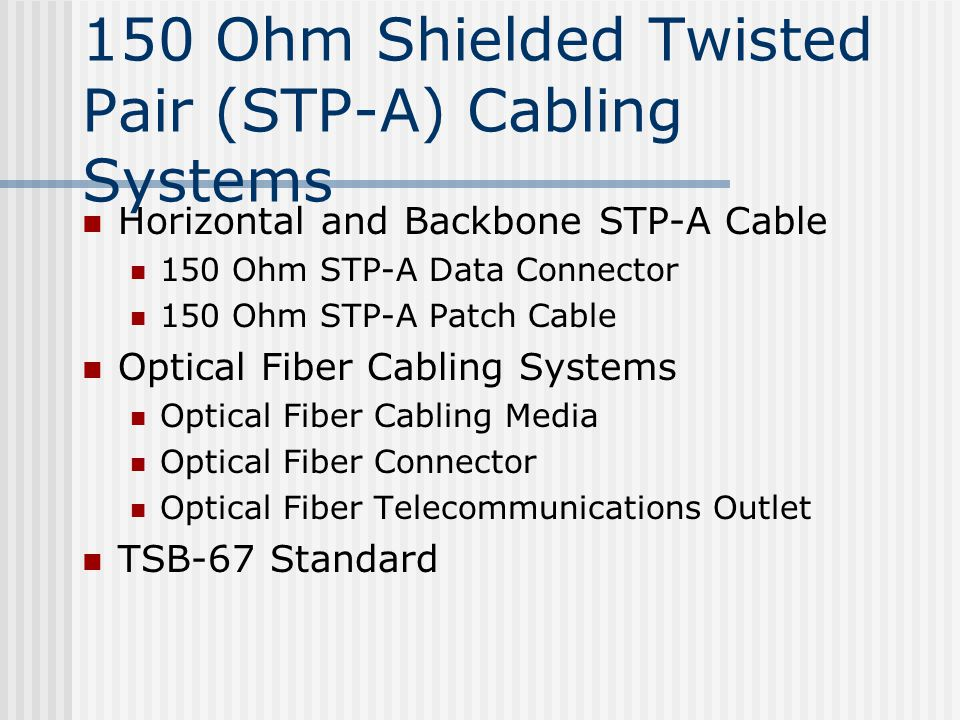 150 Ohm Shielded Twisted Pair (STP-A) Cabling Systems