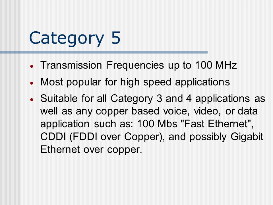 Category 5 Transmission Frequencies up to 100 MHz