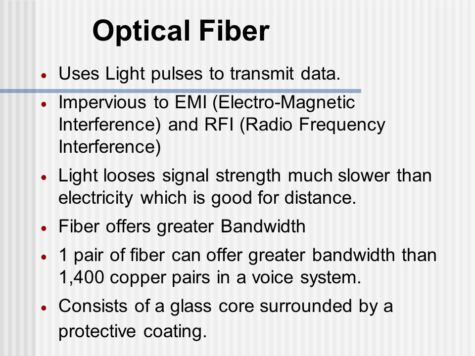 Optical Fiber Uses Light pulses to transmit data.