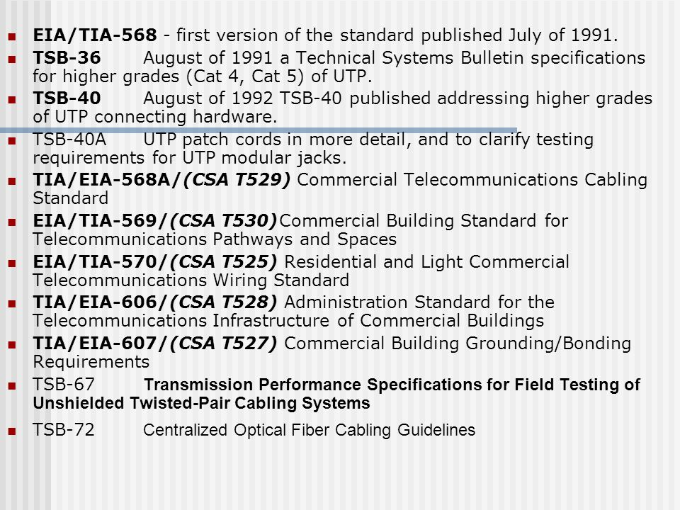 EIA/TIA-568 - first version of the standard published July of 1991.