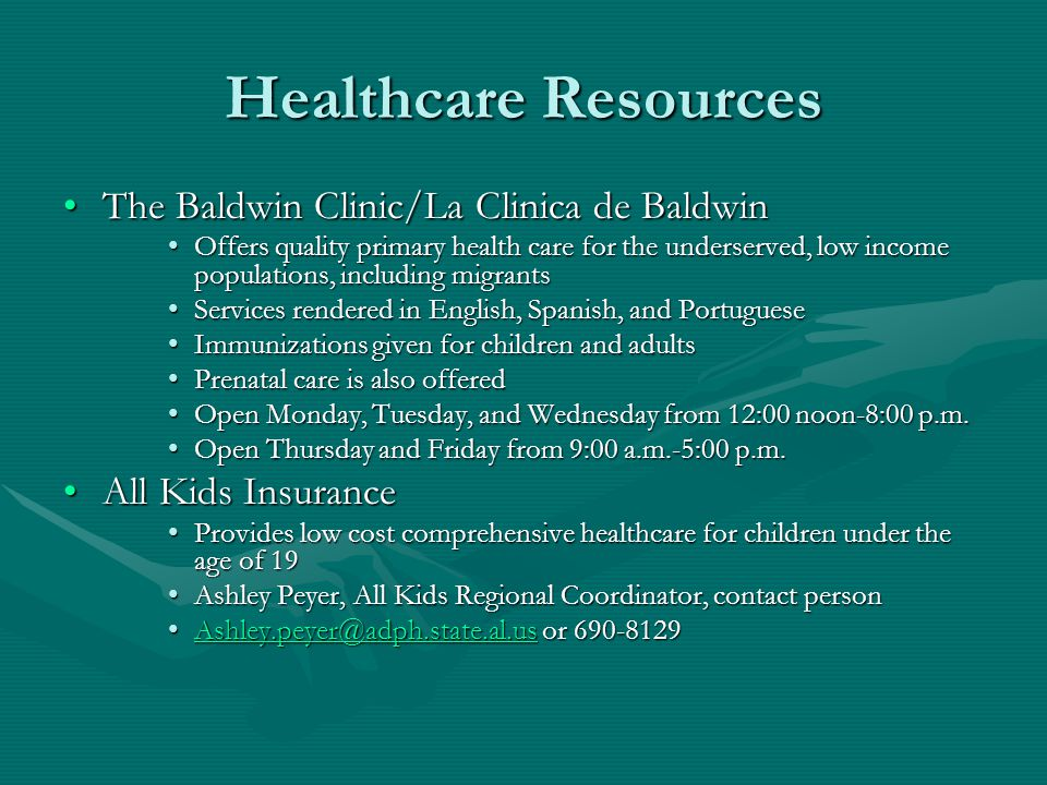 Healthcare Resources The Baldwin Clinic/La Clinica de Baldwin