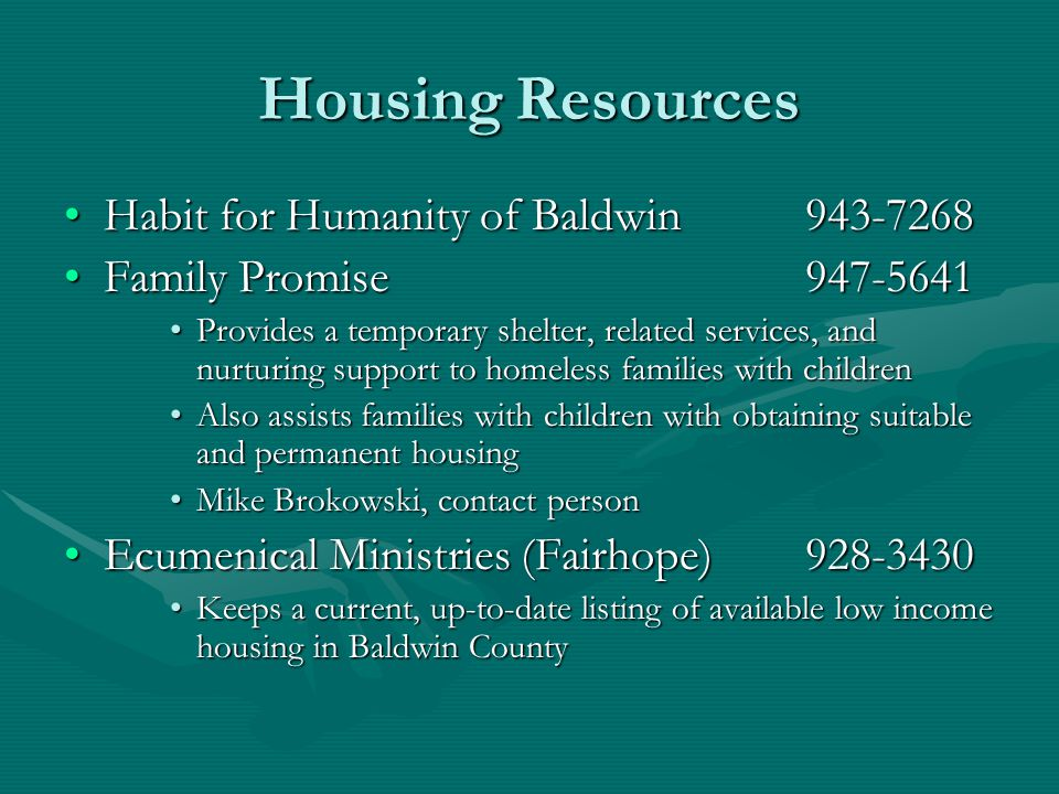 Housing Resources Habit for Humanity of Baldwin 943-7268