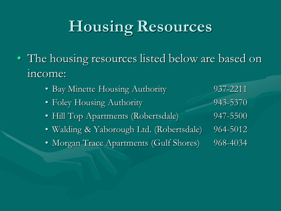 Housing Resources The housing resources listed below are based on income: Bay Minette Housing Authority 937-2211.