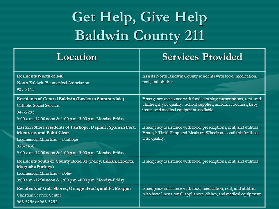 Get Help, Give Help Baldwin County 211